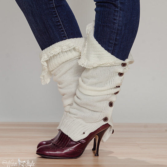Buy off-white Slouchy Button Down leg warmers w/ Ivory Knit Lace - shark tank...