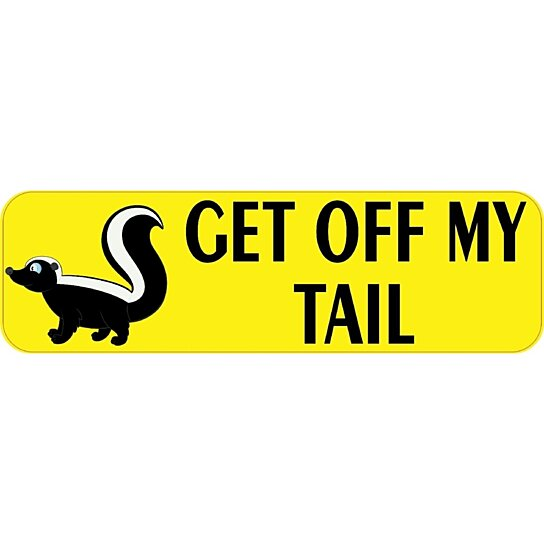 Buy 10 x 3 get off my tail skunk bumper sticker decal for Getting stickers off glass