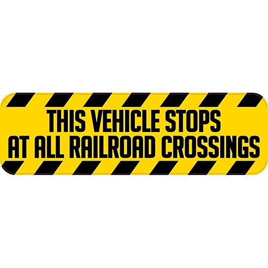 Case Design cell phone cases store : 10in x 3in This Vehicle Stops At All Railroad Crossings Sticker Vinyl ...
