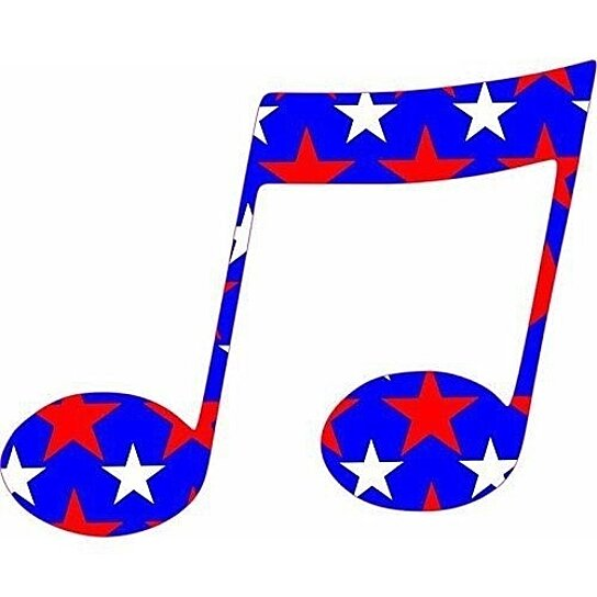Buy 5in X 4in Red White Blue Stars Music Double Eighth