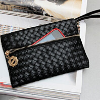 Trendy black Woven Style Wristlet Purse