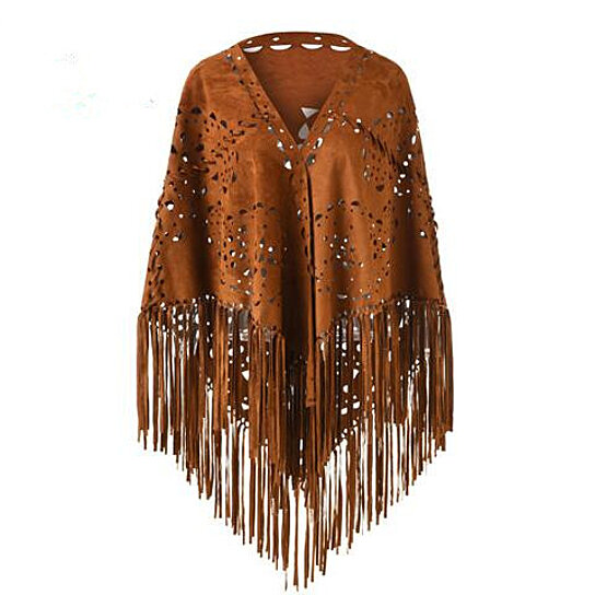 New Womens Ladies Faux Suede Wrap Long Fringed Shawl Scarf with Tassel