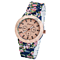 Fashion Alloy Geramic Print Flowers Weave Watch