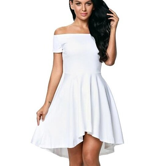 8e0080cde Buy Off The Shoulder Short Sleeve High Low Cocktail Skater Dress by ...