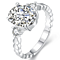 Silver Luxurious Ellipse Zircon Diamond Ring
