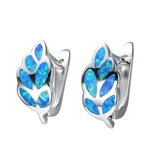 29d4fbdcb Trending product! This item has been added to cart 97 times in the last 24  hours. STYLEDOME UFOORO earrings Leaves White Blue Fire Opal Earrings for  Women ...