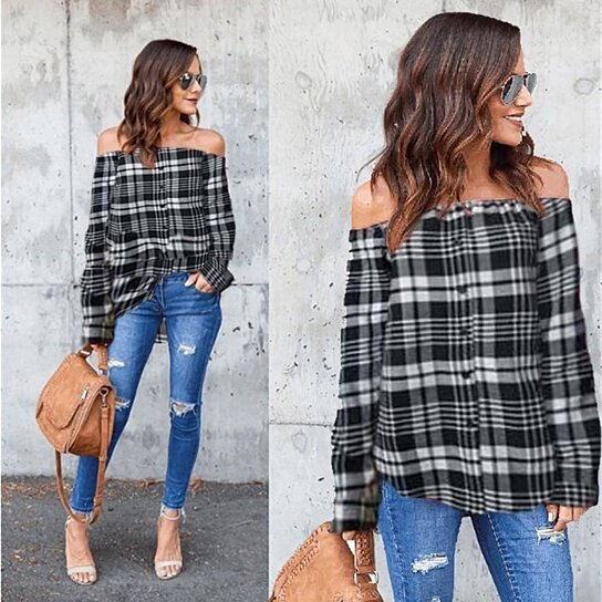 e0c4b1d265e Buy STYLEDOME Women s Plaid Sexy Off Shoulder Long Sleeve Single-breasted T-Shirt  Tops Blouse by STYLEDOME on OpenSky