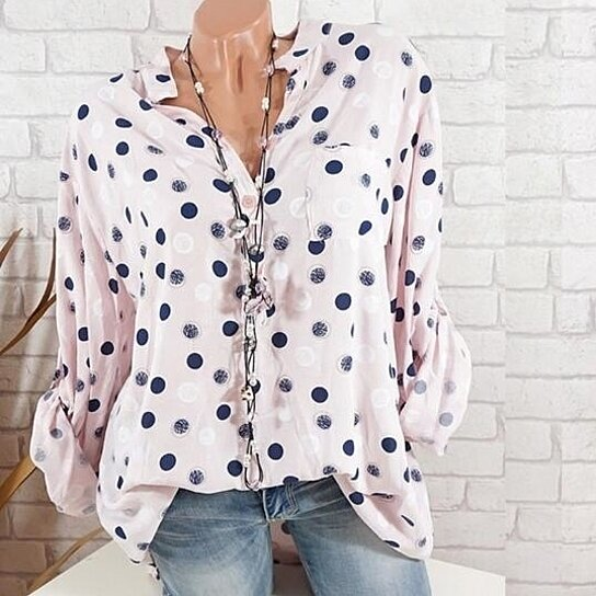 c4ec59729dd73 Trending product! This item has been added to cart 60 times in the last 24  hours. V-Neck Polka Dot ...