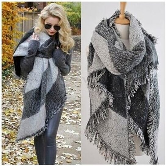 a5e3439ab7c11 Buy Winter Large Blanket Oversized Shawl Plaid Check Tartan Scarf Wrap by  STYLEDOME on OpenSky