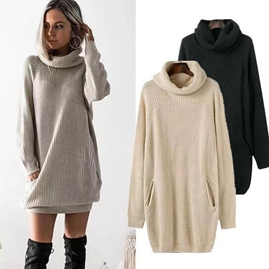 Buy Wome Winter Warm Loose Turtleneck Oversized Pullover Sweater Dress by  STYLEDOME on OpenSky f72879cd102c