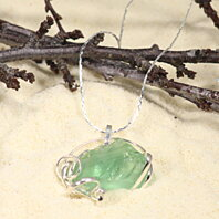 Clear Green Bar Sea Glass and Sterling silver Pendant 11""
