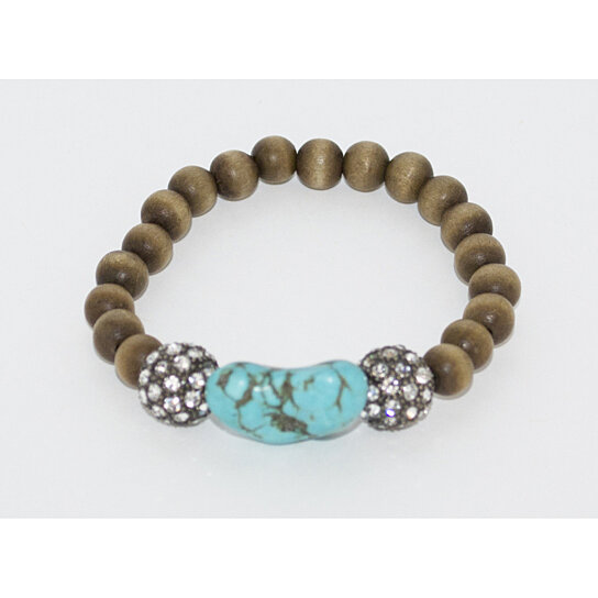 buy brown and turq beaded stretch bracelet by style gather