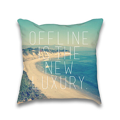 Offline is the new Luxury Vintage Beach Print Throw Pillowcase Only