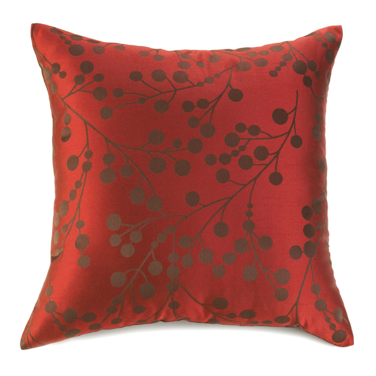 Shimmering Blossoms Red Throw Pillow