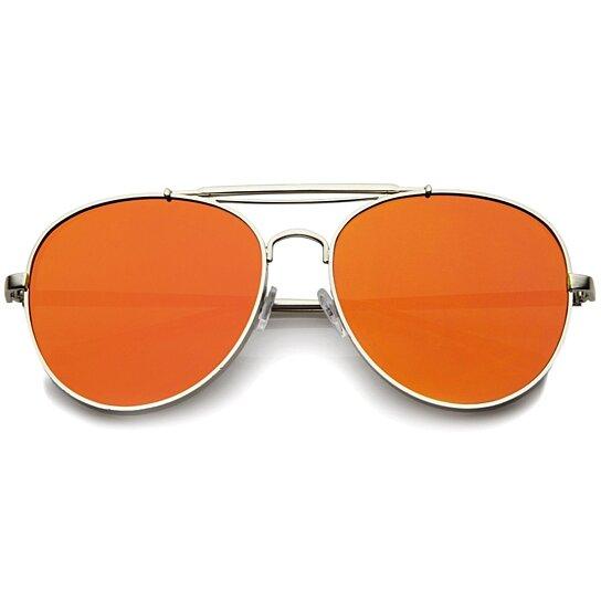bad0170fcce Buy Bold Metal Full Metal Side Cover Frame Crossbar Mirrored Flat Lens  Aviator Sunglasses by SunglassLA on OpenSky