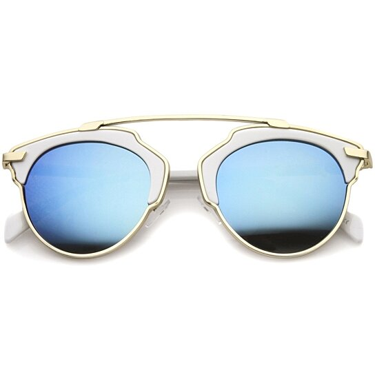 Buy High Fashion Two-Toned Pantos Crossbar Color Mirror Lens Aviator ...