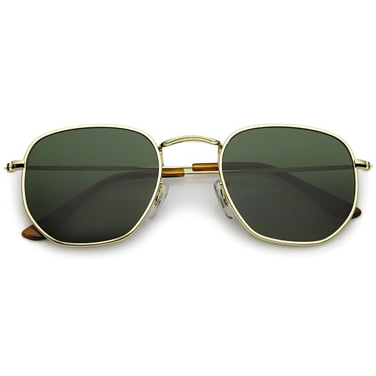 0673a67938 Buy Modern Geometric Hexagonal Sunglasses Metal Slim Arms Neutral Colored  Flat Lens 51mm by SunglassLA on OpenSky