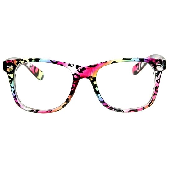 Buy Multicolored Animal Print Fashion Clear Lens Horn ...