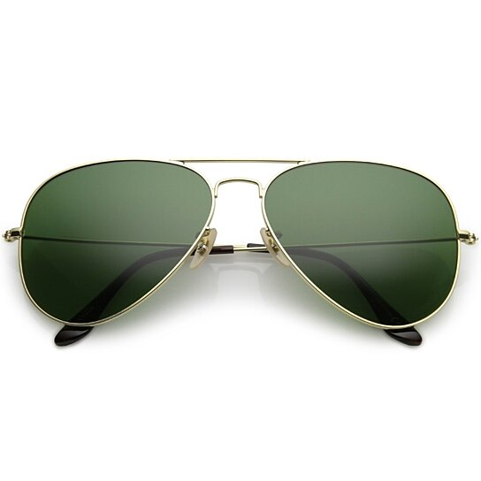 76b02c2ee4 Buy Premium Large Classic Matte Metal Aviator Sunglasses With Green Tinted Glass  Lens 61mm by SunglassLA on OpenSky