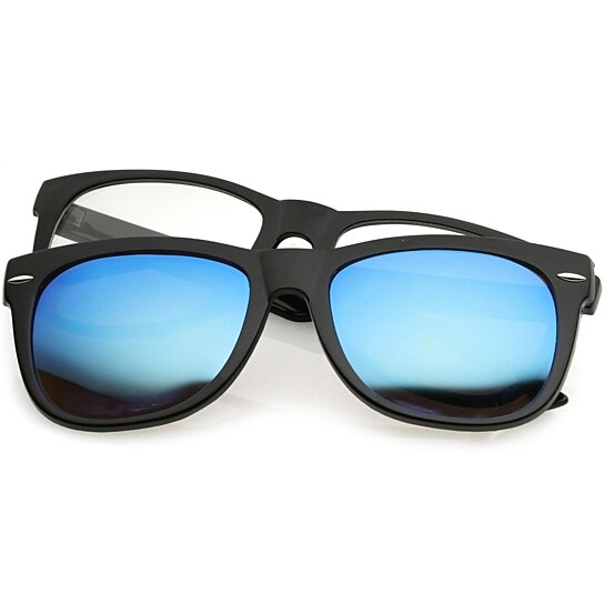 fc8f35be94761 Buy Premium Magnetic Clip-On Horn Rimmed Sunglasses Mirrored And Clear  Square Lens 53mm by SunglassLA on OpenSky