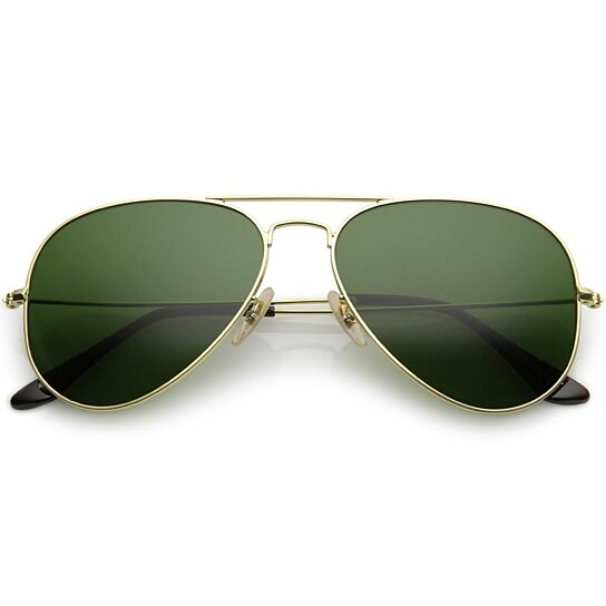 1751972d149 Trending product! This item has been added to cart 74 times in the last 24  hours. Premium Small Classic Matte Metal Aviator Sunglasses With Green ...