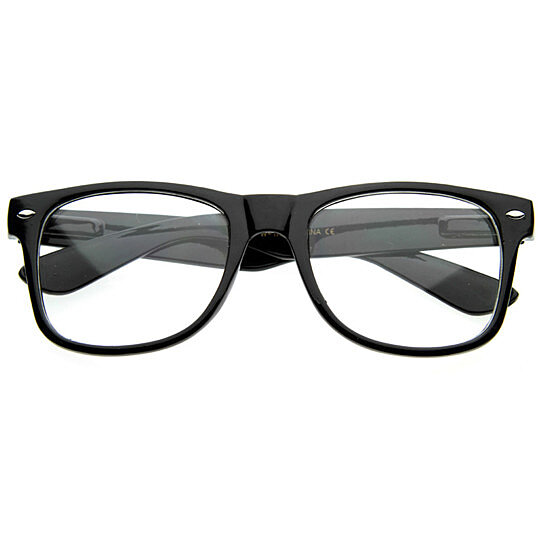 7e0f4d9d855 Clear Lens Geek nerd Retro Wayfarer Glasses Black Frame