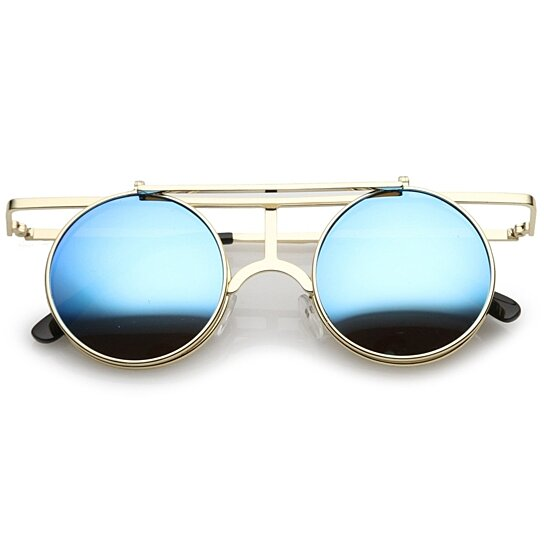 3cff168a43 Buy Steampunk Flip Up Cover Flat Top Colored Mirror Clear Lens Round  Sunglasses 44mm by SunglassLA on OpenSky