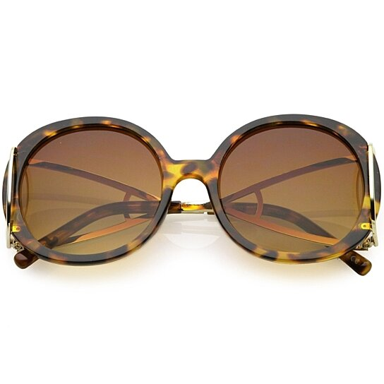 e2d1e92bdc Buy Women s Chunky Round Sunglasses Open Metal Arms Neutral Colored Lens  55mm by SunglassLA on OpenSky