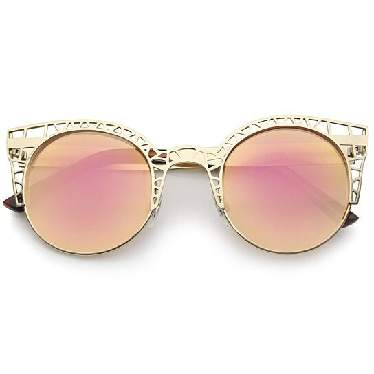 1e7eac7565 Buy Women s Metal Cut Out Frame Colored Mirror Lens Round Cat Eye Sunglasses  48mm by SunglassLA on OpenSky