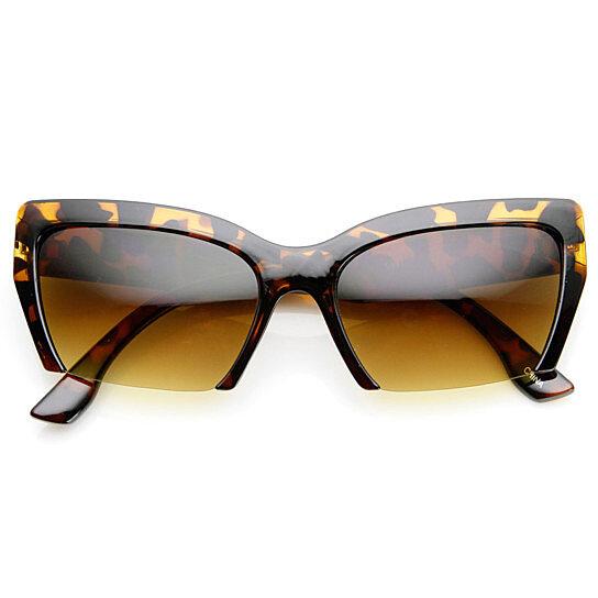 Buy Womens Mod Fashion Semi-Rimless Cat Eye Sunglasses ...