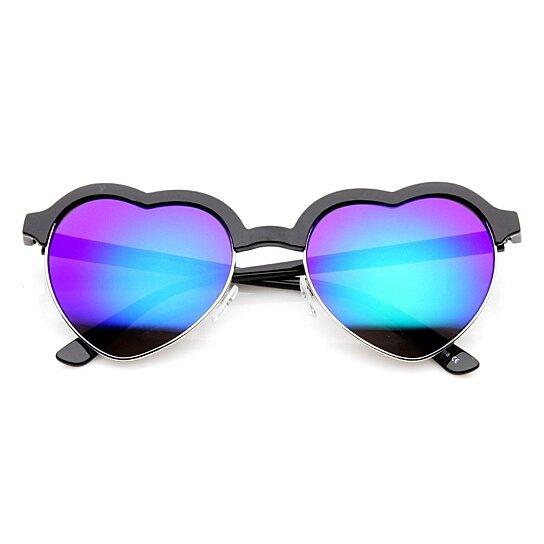 41784d2957 Buy Womens Semi Rimless Flash Mirror Heart Shaped Sunglasses by SunglassLA  on OpenSky