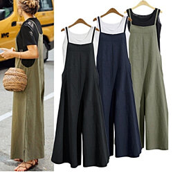 Autumn Summer Casual Loose Solid Color Tank Jumpsuit Long Pants