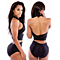 Front Criss Cross Ruched Backless One Piece Swimsuit