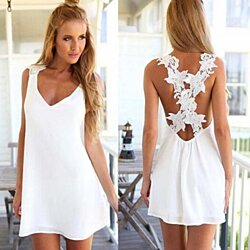Women Sexy Backless Lace Crochet Chiffon Summer Beach Mini Dress