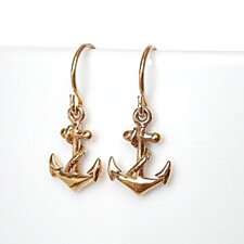 Anchor Drop Earrings in gold