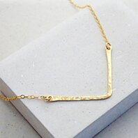 Chevron Triangle Necklace in Silver, Gold or Rose Gold