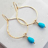 Turquoise Leaf Drop Earrings in Silver, Gold or Rose Gold