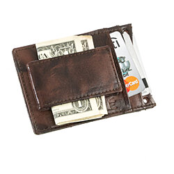 Suvelle Men's Leather Thin Slim Magnetic Money Clip Wallet, Front Pocket Wallet with Detachable Neck Strap W019