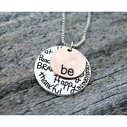 BE Brave Kind Compassionate Thankful Peaceful Happy Necklace