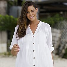 White Cotton Big Shirt With Crochet