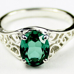 SR005, Created Emerald, 925 Sterling Silver Ring