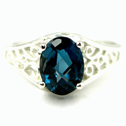 SR005, London Blue Topaz, 925 Sterling Silver Ring