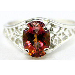 SR005, Twilight Fire Topaz, 925 Sterling Silver Ring