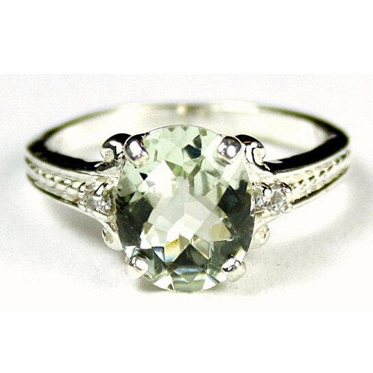 buy sr136 green amethyst 925 sterling silver ring by