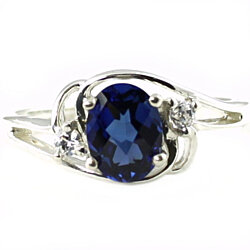 SR176, Created Blue Sapphire, Sterling Silver Ring