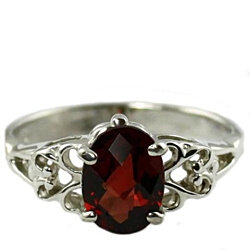 SR302, 8x6mm Mozambique Garnet, 925 Sterling Silver Ring