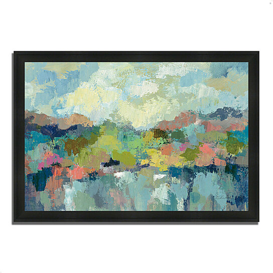 buy abstract lakeside by silvia vassileva 39 x 27 framed painting print silky black frame by. Black Bedroom Furniture Sets. Home Design Ideas