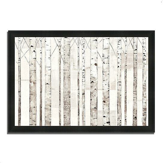 buy birch trees on white by avery tillmon 39 x 27 framed painting print silky black frame by. Black Bedroom Furniture Sets. Home Design Ideas