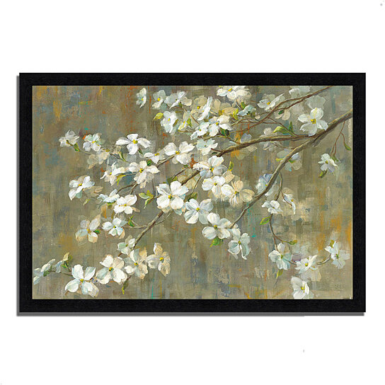 buy dogwood in spring by danhui nai 39 x 27 framed painting print black frame by tangletown. Black Bedroom Furniture Sets. Home Design Ideas