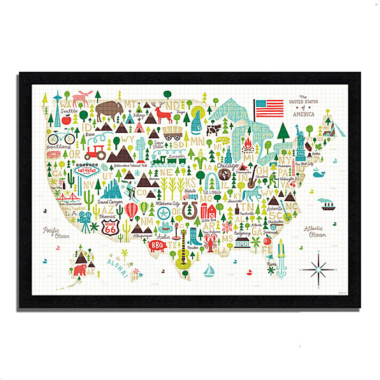 buy illustrated usa by michael mullan 39 x 27 framed painting print black frame by. Black Bedroom Furniture Sets. Home Design Ideas